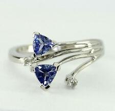 Diamond tanzanite ring white gold trillions round brilliants .45CT split spiral!