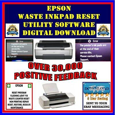Epson Stylus Printer Waste Ink Pad Counter Error Reset Software DIGITAL  DOWNLOAD | eBay