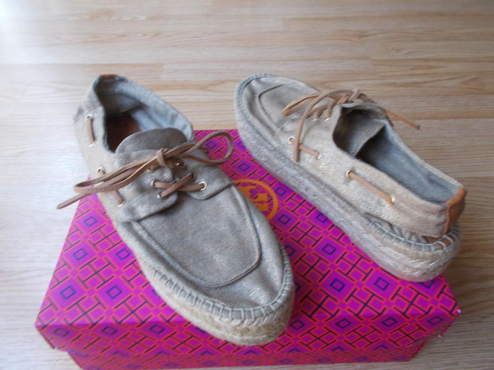 Tory Burch Blanton Boat shoes Platform Espadrille Khaki Metallic 11 US 10.5 NEW