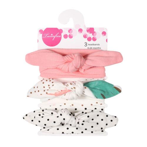 3 PCs Baby Girls Bow Cotton Headbands Cute Children Hair Bands Headwear Bandanas