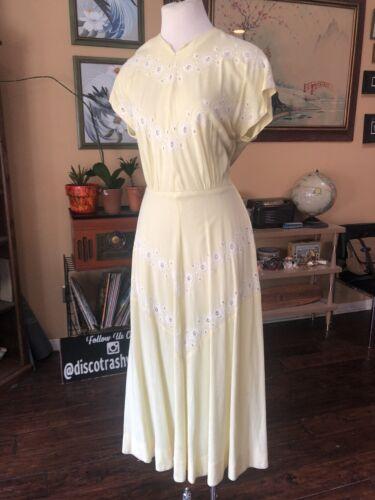 Vintage 1940's Yellow Eyelet Dress