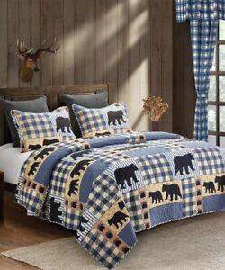 King Virah Bella 3 Piece Black Bear Blue Plaid Quilt Set