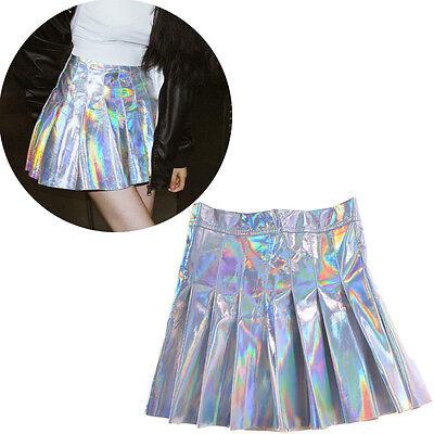 Women Girl Skinny Metallic Pleated Skirt Hight Waist Short Skirt Mini Dress 1pc