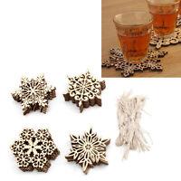 10PCS Rustic Wood Snowflake Tags Cup Pad Christmas Tree Hanging Decoration