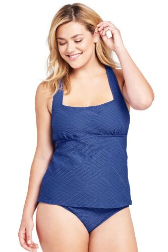 LANDS/' END Plus Size 24W Texture Portrait Back 2-Piece Tankini Swimsuit NWT $130