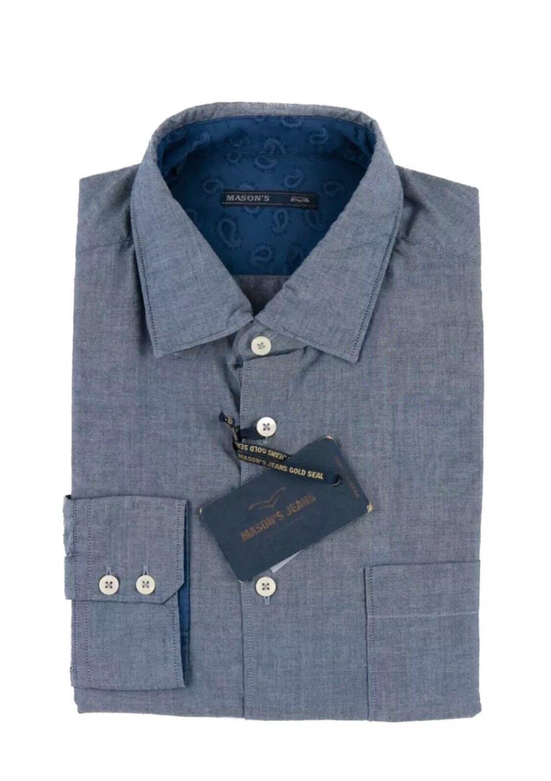 260 NWT MASONS JEANS Solid Blau Cotton Spread Collar Button-Up Dress Shirt 16 L