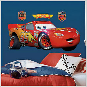 Image Is Loading LIGHTNING MCQUEEN Disney Cars Wall Sticker MURAL Decals