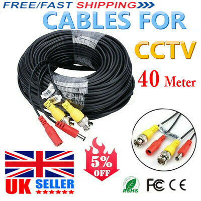 40m BNC DC CCTV Security IP Camera DVR Data Power Extension Cable Lead Wire UK