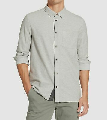 DKNY Mens Solid Collared Button-Down Shirt Navy L
