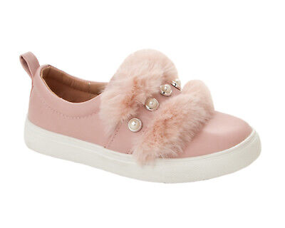 GIRLS DIAMANTE FUR TRIM SLIP ON PLIMSOLLS PUMPS SHOES TRAINERS KIDS UK SIZE 10-2