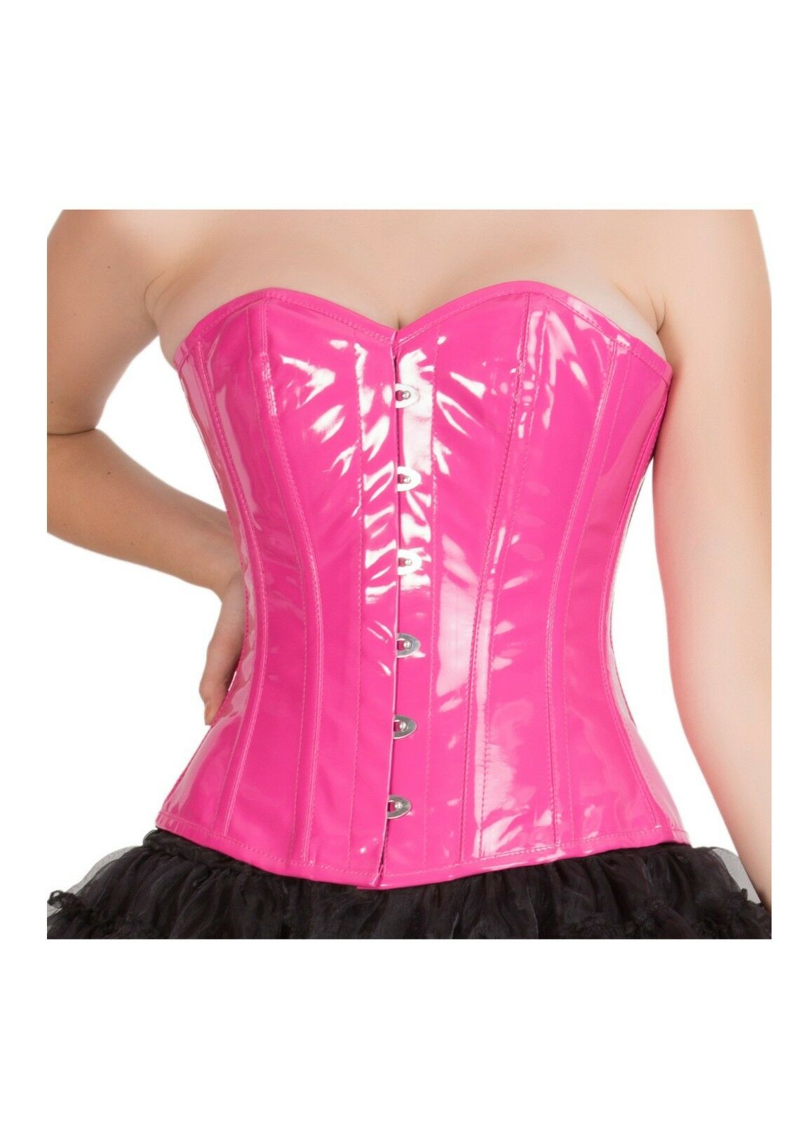 Pink PVC Faux Leather Burlesque Gothic Waist Training Overbust Corset Costume