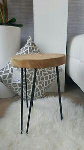 Design Hocker Teakholz-Metall Beistelltisch schwarz-Holz H:42cm | {Design hocker holz 60}