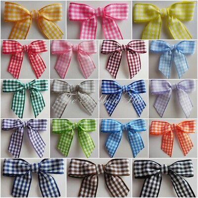 Pkts of 25 Crafts Embellishments 3cm Gingham//Check Mini Ribbon Bow Ties