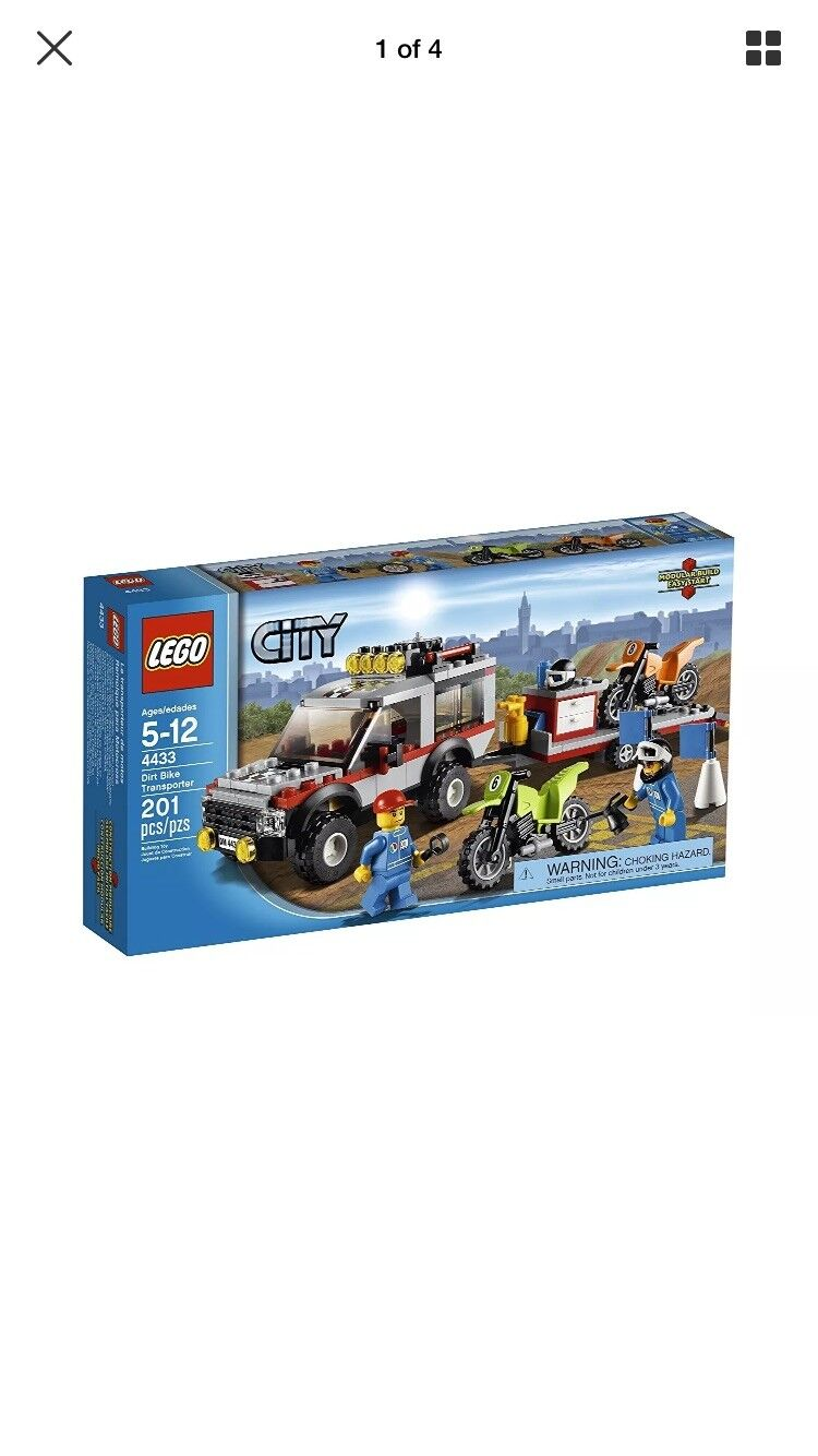 Nuovo rare discontinued LEGO City Town Dirt Bike Transporter 4433 toy set kit