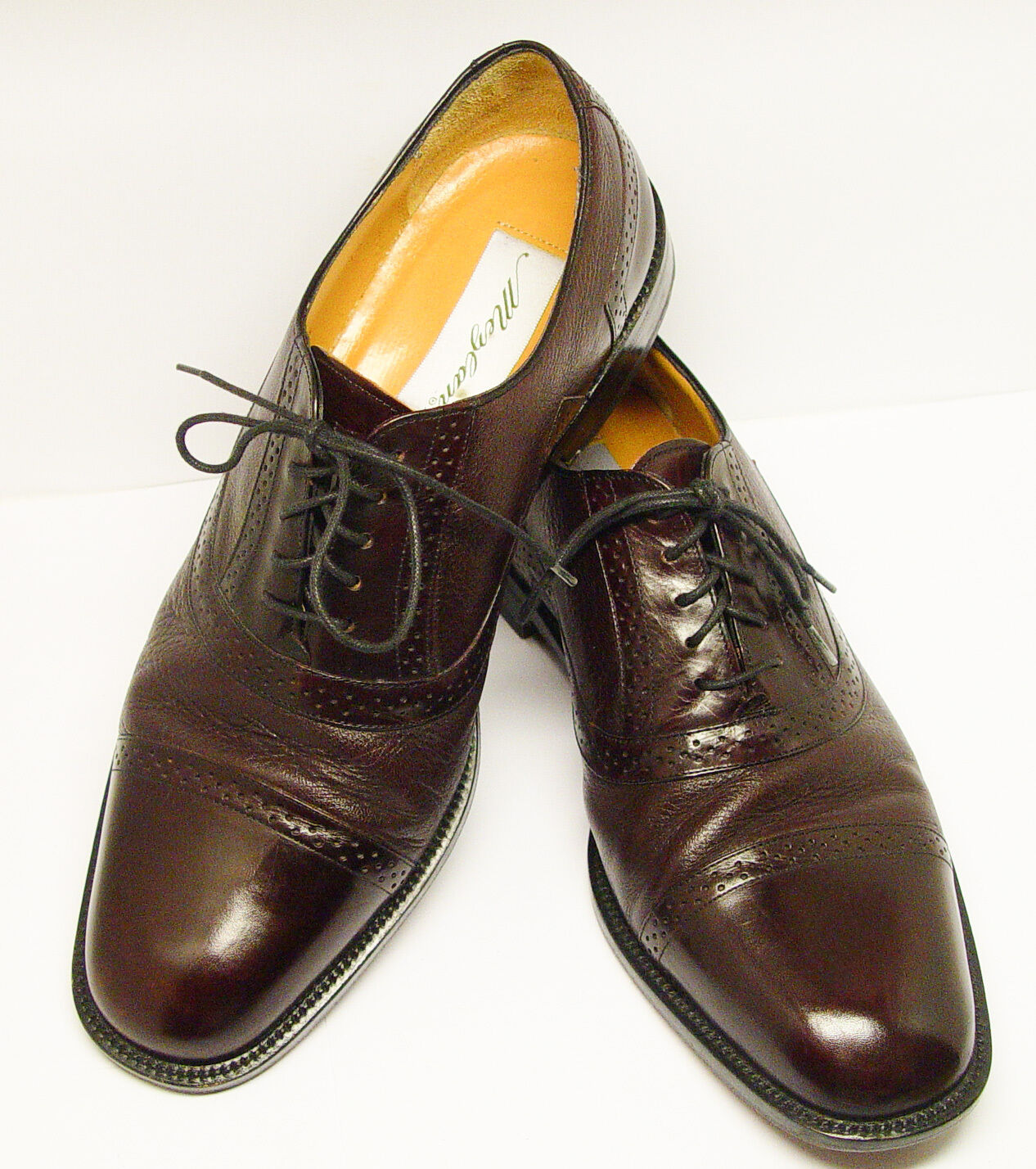 MEZLAN Marque Spain Made Leather 10M Dark Burgundy Brown Oxfords PRISTINE COND.