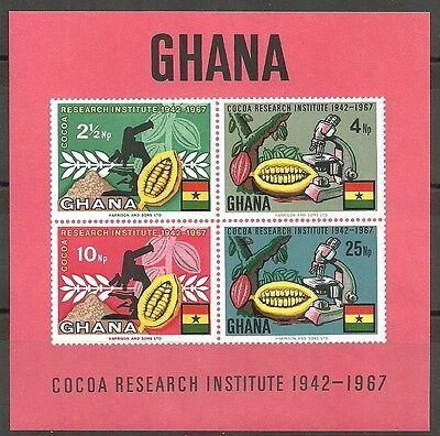 334-337 Reich Und PräChtig Original Ghana Kakao-forschungsinstitut Block 30 Postfrisch 1968 Mi.nr
