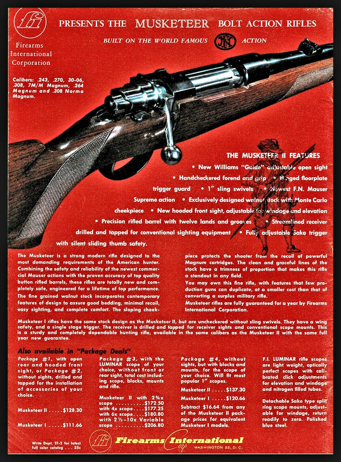 Image 1 - 1963 MUSKETEER II Bolt Action Rifle PRINT AD Firearms International Advertising