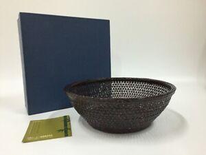 Japanisch-Bambus-Schale-Tablett-Vintage-Rantai-Lack-Ware-Geflochten-Muster-Box