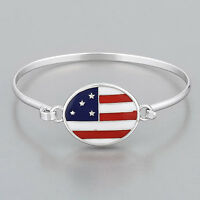 Rhodium Silver Finish American Flag Simple Vintage Stylish Bangle Bracelet