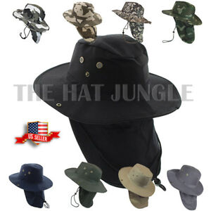 f93ec082a84 Boonie Hat Neck Flap Fishing Hiking Outdoor Summer Cap Military Snap ...