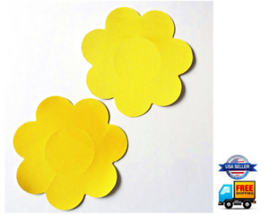 Pastie Breast Nipple Covers Pasties Festival Rave Adhesive Sticker Flower Yellow