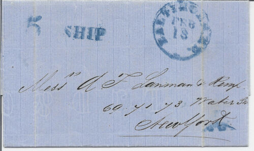 1862 Havana Trinidad Blue Cover to New York Baltimore MD Mailed on Ship w 5
