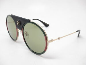 892b9da7651a6 Image is loading New-Authentic-Gucci-GG0061S-017-Gold-Black-Leather-