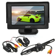 "4.3"" LCD Monitor+Wireless Reverse Car Rear View Backup Camera Cam Kit DC 12V"