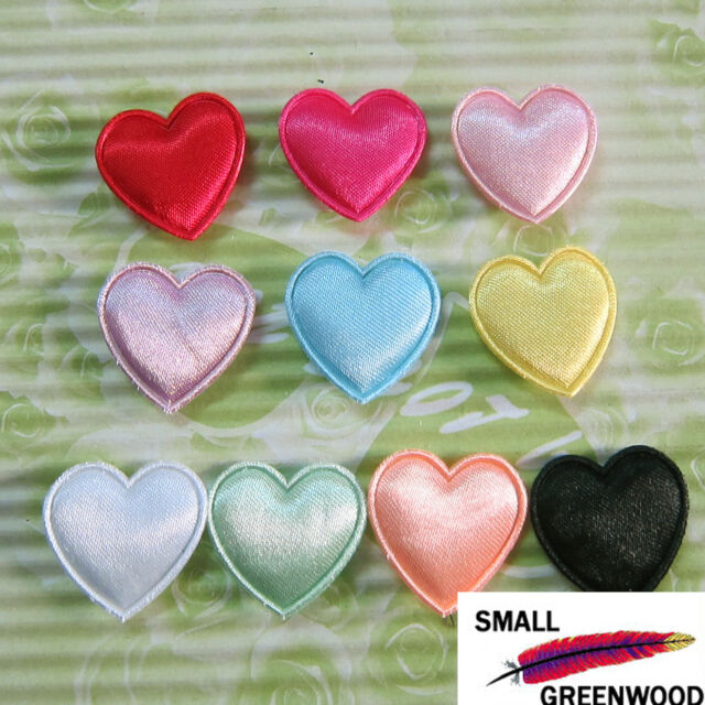 "(U Pick) Wholesale 50-500 Pcs. 3/4"" Padded Satin Heart Appliques H034"