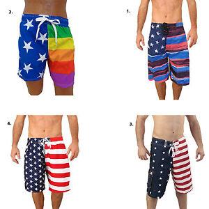 c72ae5a06a Men's American USA Flag Stars Stripes July 4th Swim Board Short ...