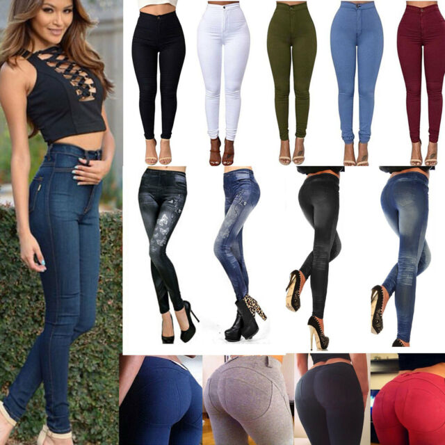 New Women High Waisted Slim Skinny Legging Stretch Trousers Jegging Pencil Pants