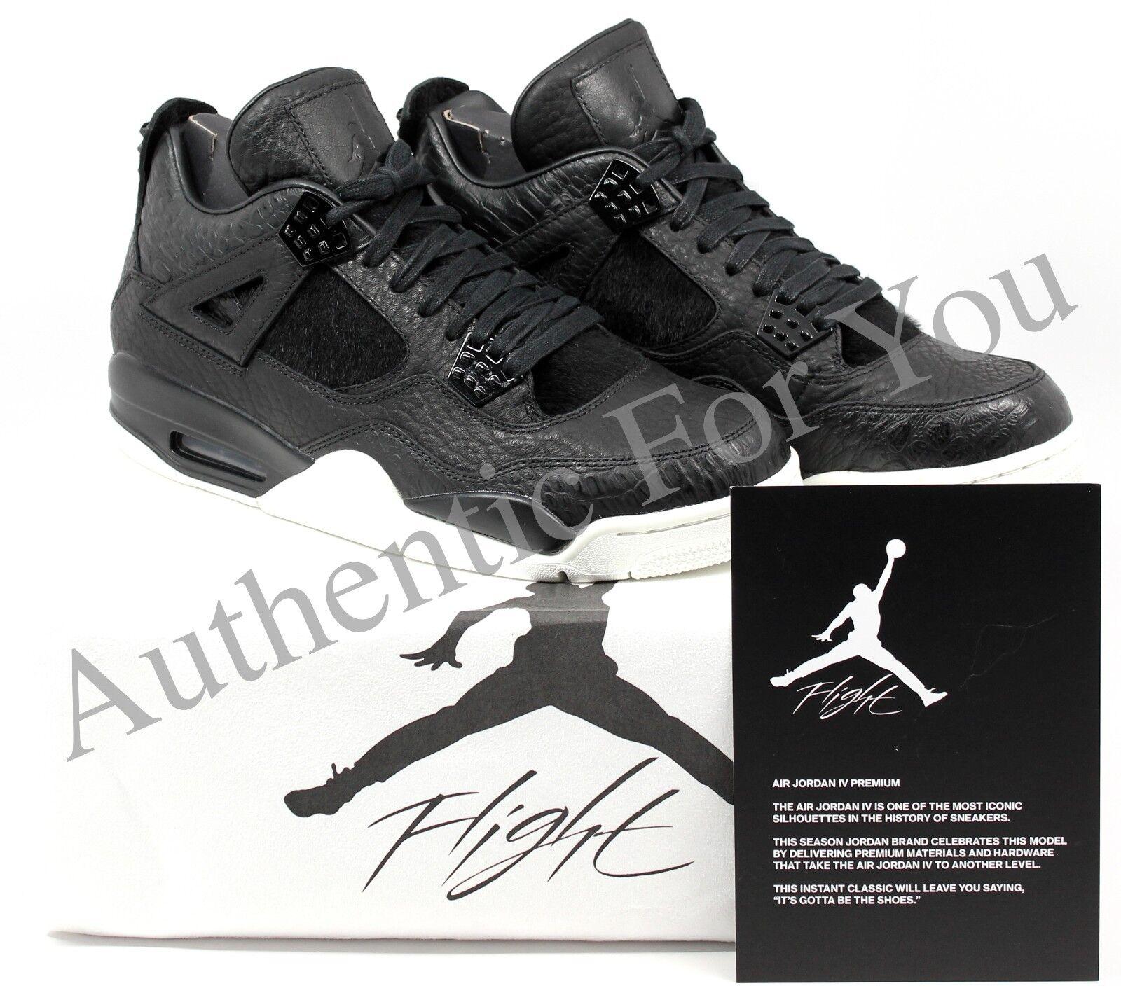 NEW Nike Air Jordan Retro 4 Pinnacle Premium Pony Hair Black 819139-010 Size 10