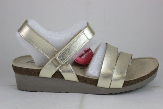 f13999150a6b Skechers Women s Troos Brons Ankle Strap Wedge Sandal 10 M Gold