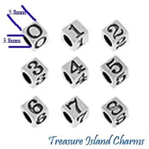 # 0 thru 9 .925 Solid Sterling Silver BLOCK NUMBER Bead 5.8mm, 3.8mm Hole Size