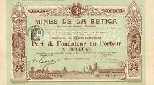Mines de la Betica, Province de Almeria (Espagne) SA, parte de fundador, 1909