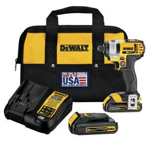 DEWALT 20V MAX Li-Ion 1/4 in. Impact Driver Kit DCF885C2 Certified Refurbished