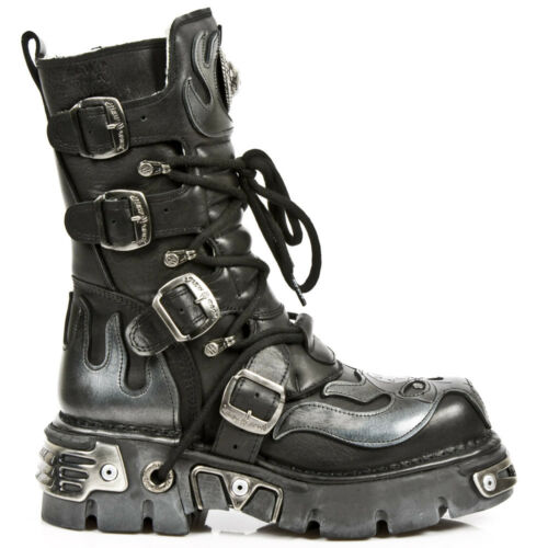 Boots Skull misure 107 Newrock Silver Metallic New le Tutte Devil Rock s2 wawO8Hq
