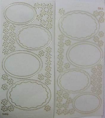 2 sheets of Frame Peel-offs  Clear/Gold with flower embellishments