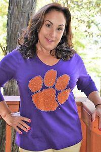 Clemson-Tigers-rhinestone-glitter-paw-Shirt-XS-S-M-L-XL-XXL-1X-2X-3X-4X-5X