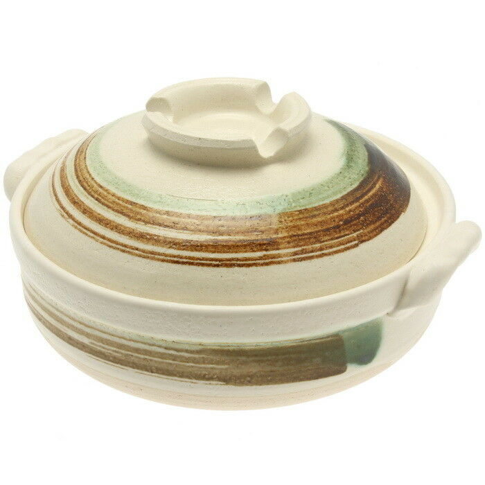 1 x Japanese 10-3 4  Brushstroke Donabe Hot Pot, White with Brown and GreenD