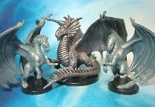 Dungeons & Dragons Miniatures Lot  Young Silver Dragon & Wyrmlings !!  s101