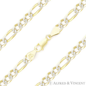 4mm-Figaro-Pave-Link-925-Sterling-Silver-amp-14k-Yellow-Gold-Italy-Chain-Bracelet