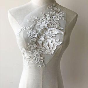 Robe de mariée dentelle Applique blanc de mariée broderie Motif Beaded Trim 1 pc