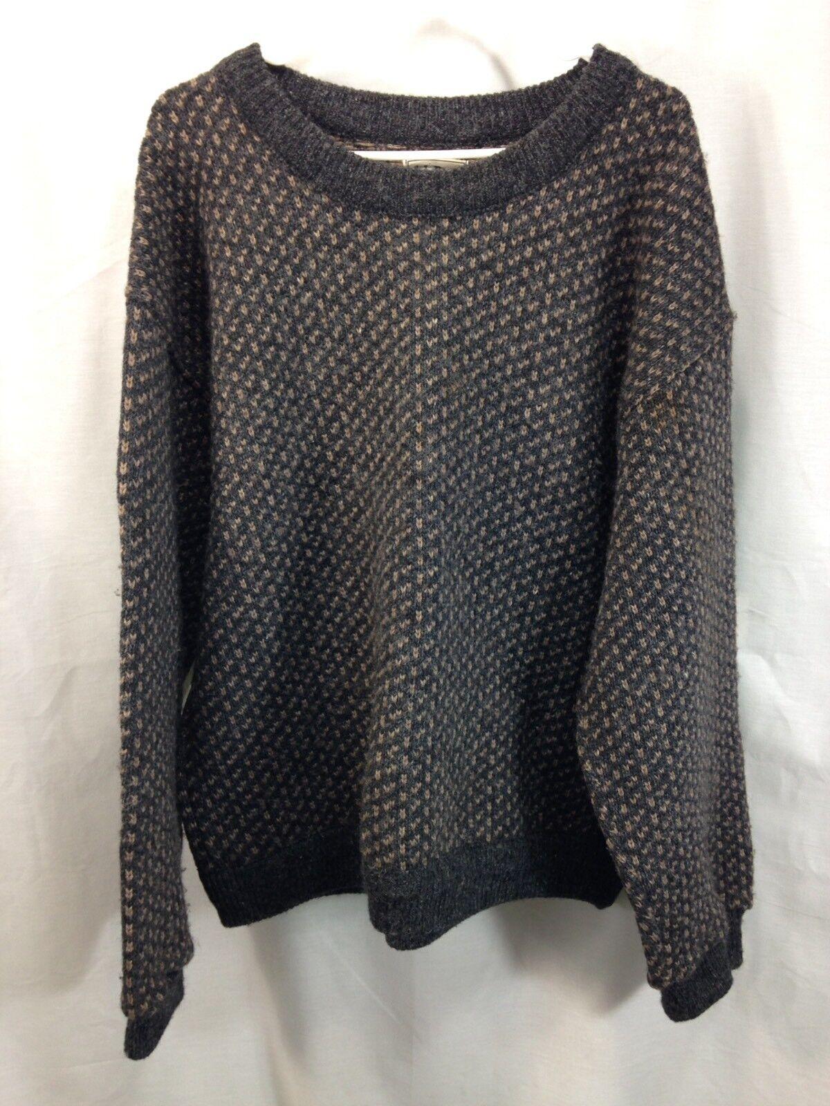 VTG LL Bean Bird's Eye Knit Sweater  Herren XL X-Large grau Wool Blend Norway