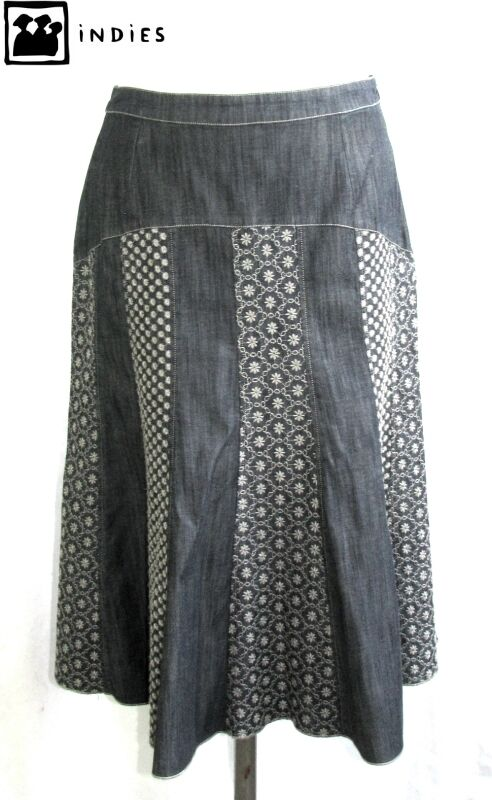 INDIES - SKIRT ORIGINAL blueE JEANS & EMBROIDERY SIZE 1 = 38 - MINT