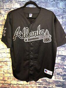 Vtg Rare Black Atlanta Braves Baseball Jersey Size Large Russell Athletic Rare🔥