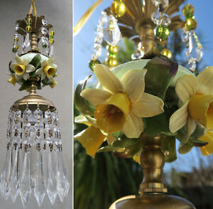 Porcelain capodimonte narcissus daffodil brass tole chandelier swag image is loading porcelain capodimonte narcissus daffodil brass tole chandelier swag mozeypictures Image collections