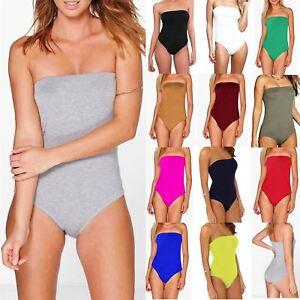 Womens Bandeau Boobtube Bodysuit Ladies Plain Jersey Stretch Basic Leotard Top