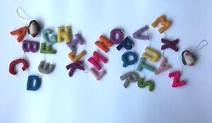 Children/'s room// Preschool handcrafted colorful alphabet letters felt hangings