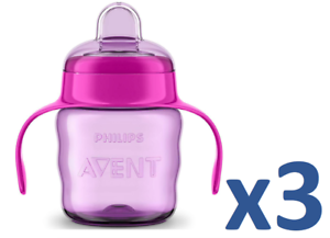rose//violet 200 ml 0/% BPA 3 x Philips avent Easy SIP bec verseur Gobelet avec Poignée